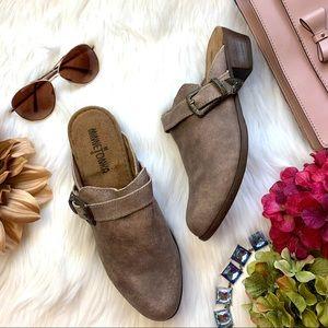 Minnetonka Brown Billie Leather Mule Size 8